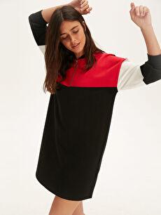 Renk Bloklu Pamuklu Salaş Elbise