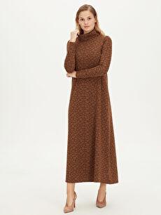 Şal Yaka Uzun Esnek Elbise
