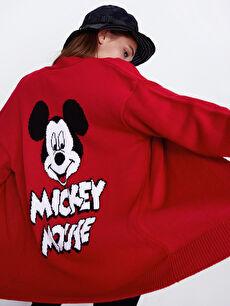 Sırtı Mickey Mouse Desenli Triko Hırka
