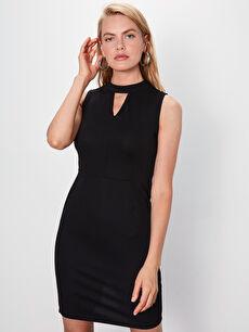 Yaka Detaylı Esnek Düz Kalem Elbise