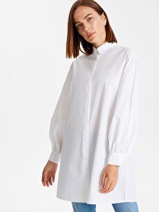 Gömlek Yaka Pamuklu Düz Tunik