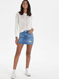 Sökük Detaylı Kadın Mini Jean Etek