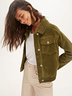 Cep Detaylı Uzun Kollu Kadife Kadın Ceket