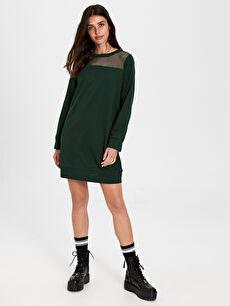 Yakası File Detaylı Pamuklu Elbise