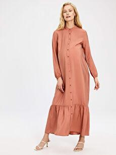 Fırfır Detaylı Uzun Viskon Hamile Elbise