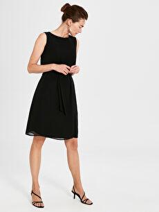 Kuşaklı Düz Şifon Elbise