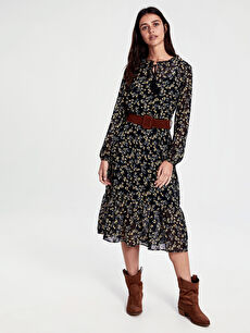 Kemerli Çiçek Desenli Şifon Elbise