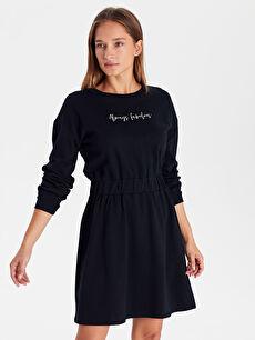 Yazı Baskılı Beli Lastikli Pamuklu Elbise