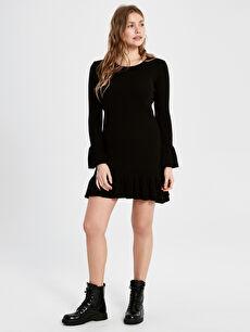 Fırfır Detaylı Mini Triko Elbise