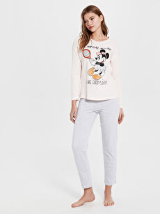 Minnie Mouse Baskılı Pamuklu Pijama Takımı