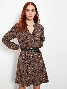 Kemer Detaylı Desenli Elbise