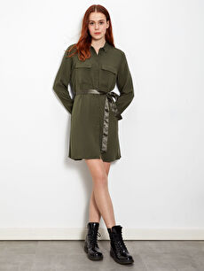 Kuşaklı Viskon Mini Elbise