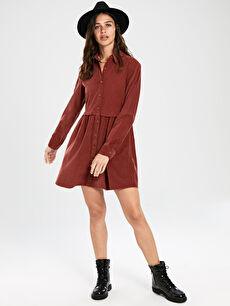 Kahverengi Düğmeli Kadife Uzun Kollu Kadın Mini Elbise