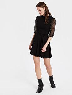 Kolları Tül Detaylı Mini Kloş Elbise