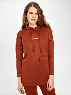 Slogan Baskılı Kapüşonlu Sweatshirt