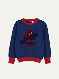 Erkek Çocuk Spiderman İnce Triko Kazak