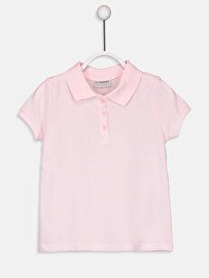 Kız Çocuk Polo Yaka Pamuklu Basic Tişört