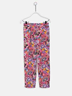 Kız Çocuk Desenli Viskon Pantolon
