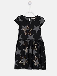 Kız Çocuk Baskılı Pul İşlemeli Elbise
