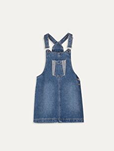 Basic Cep Detaylı Kız Çocuk Jean Salopet Elbise