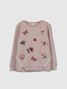 Kız Çocuk Çiçek Baskılı Sweatshirt