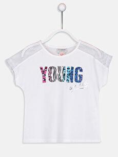 Kız Çocuk Baskılı File Detaylı Pamuklu Tişört
