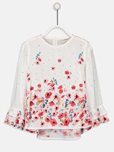 Kız Çocuk Çiçekli Viskon Bluz