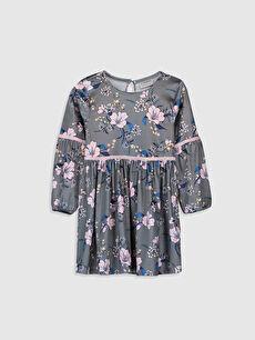 Kız Çocuk Desenli Kadife Elbise