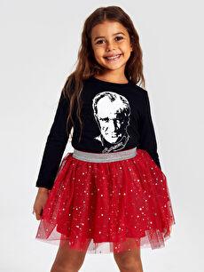 Kız Çocuk Atatürk Baskılı Pamuklu Tişört