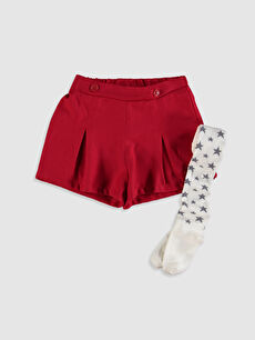 Kız Çocuk Şort ve Külotlu Çorap
