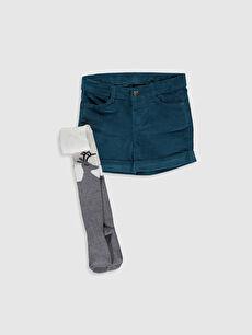 Kız Çocuk Kadife Şort ve Külotlu Çorap