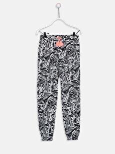 Aile Koleksiyonu Kız Çocuk Desenli Pamuklu Jogger Pantolon