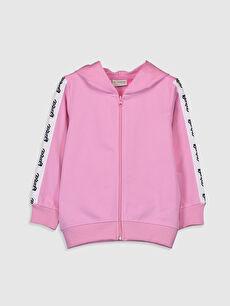 Kız Çocuk Barbie Baskılı Fermuarlı Sweatshirt