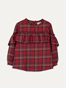 Kız Çocuk Fırfırlı Ekose Bluz