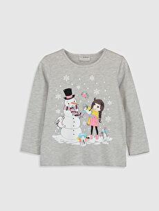 Kız Çocuk Baskılı Uzun Kollu Tişört