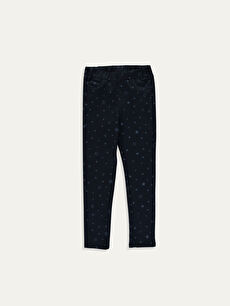 Elastic Waist Skinny Fit Printed Girl's Trousers