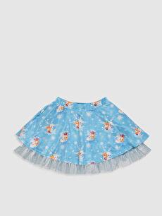 Mavi Kız Çocuk Frozen Baskılı Kadife Etek