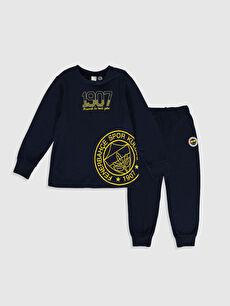 Erkek Çocuk Fenerbahçe Amblemli ve Baskılı Pijama Takımı