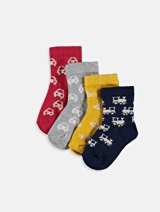 Erkek Bebek Desenli Soket Çorap 4'lü