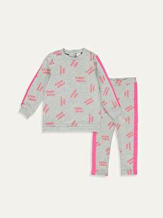Kız Bebek Yazı Baskılı Sweatshirt ve Tayt 2'li