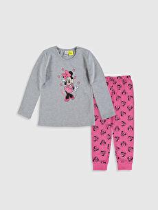 Kız Bebek Minnie Mouse Baskılı Pijama Takımı