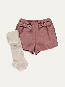 Kız Bebek Twill Şort ve Külotlu Çorap