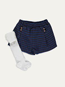 Kız Bebek Ekose Şort ve Külotlu Çorap 2'li
