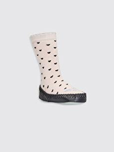 Gri Kız Bebek Desenli Ev Çorabı