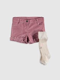 Kız Bebek Gabardin Şort ve Külotlu Çorap