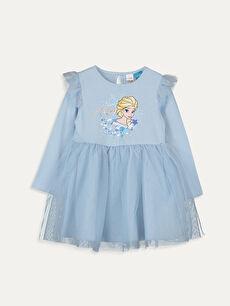 Kız Bebek Elsa Baskılı Elbise
