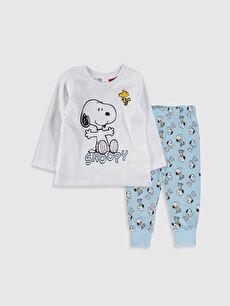 Erkek Bebek Snoopy Baskılı Pijama Takımı