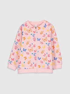 Kız Bebek Desenli Fermuarlı Sweatshirt