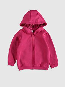Kız Bebek Kapüşonlu Fermuarlı Sweatshirt