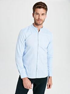 Slim Fit Hakim Yaka Uzun Kollu Oxford Gömlek